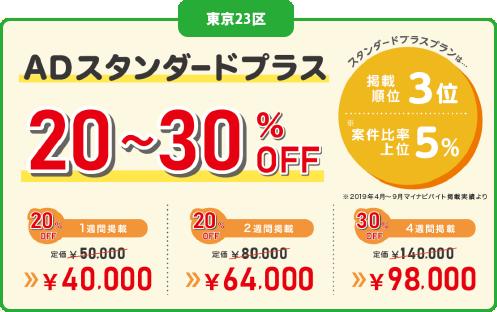 23区内マイナビLINEバイト提携キャンペーン料金